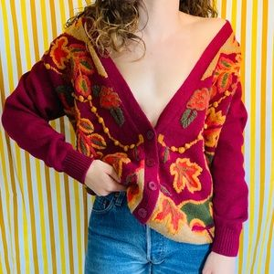 Vintage Fall Autumn Leaf Grandma Deep V Cardigan
